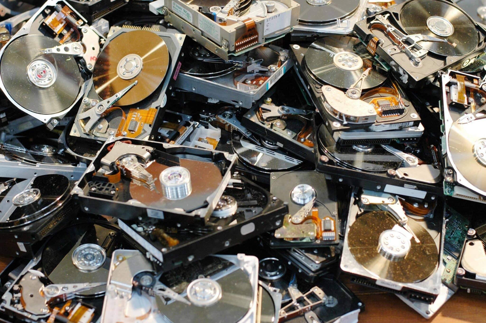 Pile of broken hard drives