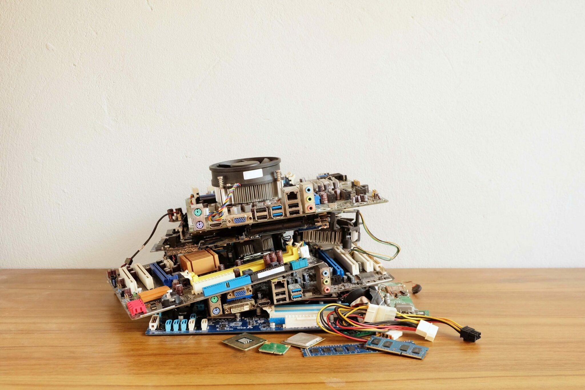 Pile of circuit boards and other electronic equipment