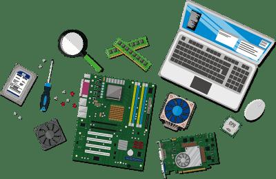 Laptop components laid out