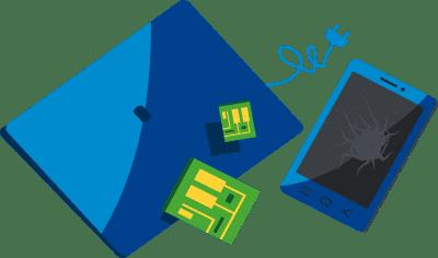 Broken tablet and computer