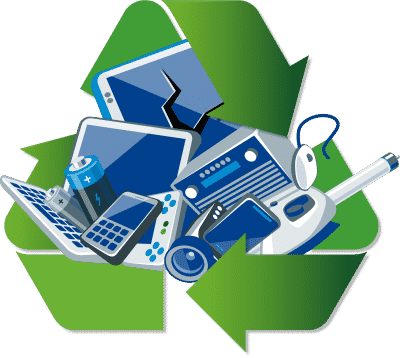 Broken electronics surrounded by recycling icon